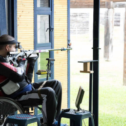 Disabled shooter at Novi Sad 50m rifle shooting range