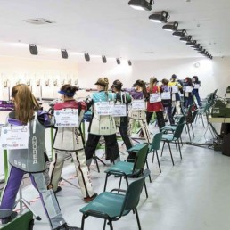 Shooters in Novi Sad Air rifle shooting range